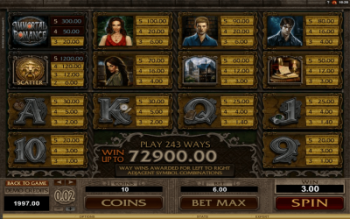 Immortal Romance Payout Table